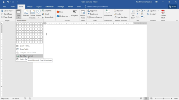 Microsoft Spreadsheet Tutorial With Insert An Excel Worksheet Into A Word Document  Tutorial