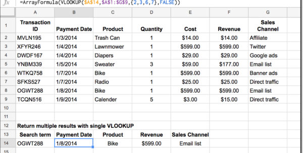 Microsoft Works Spreadsheet Formulas List Throughout How To Return Multiple Columns With Vlookup Function In Google Sheets