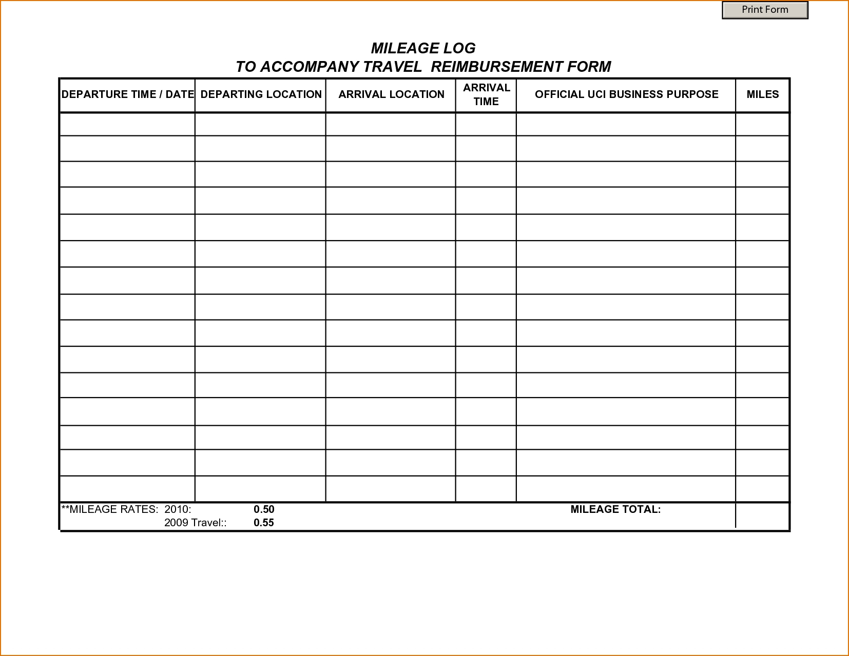 mileage expense report spreadsheet with form templates