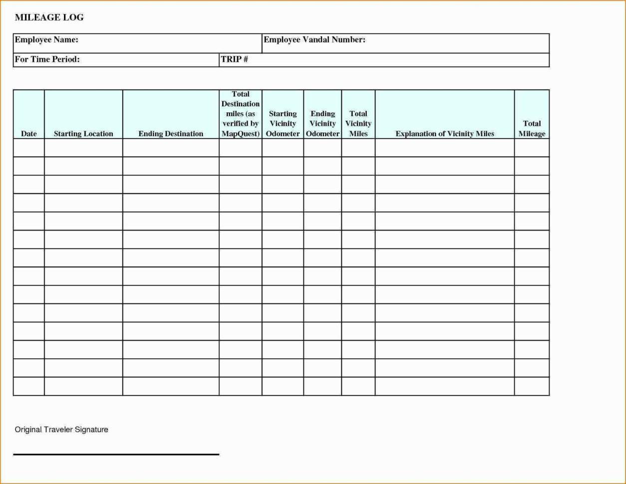 Mileage Log Spreadsheet Regarding Mileage Tracking Template Beautiful Mileage Reimbursement