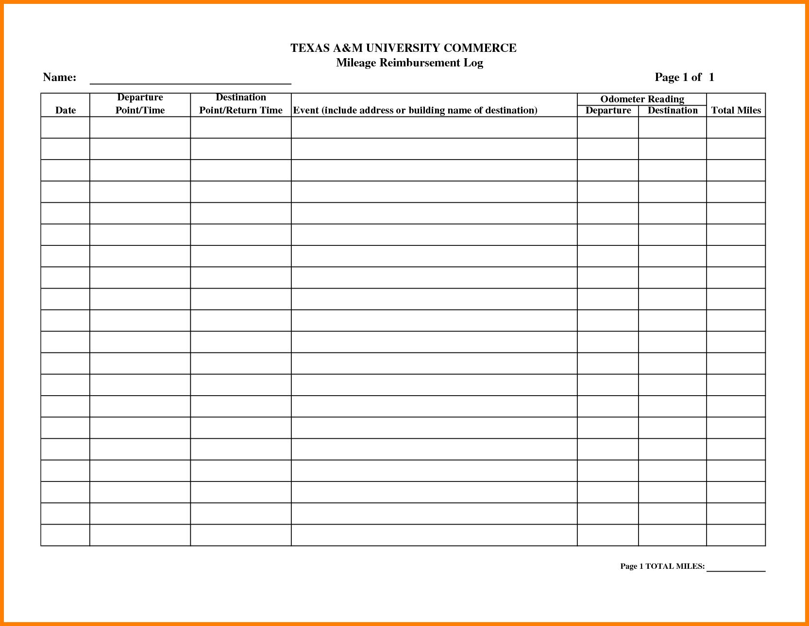 Mileage Reimbursement Spreadsheet With Free Mileage Reimbursement Form Template Unforgettable Templates