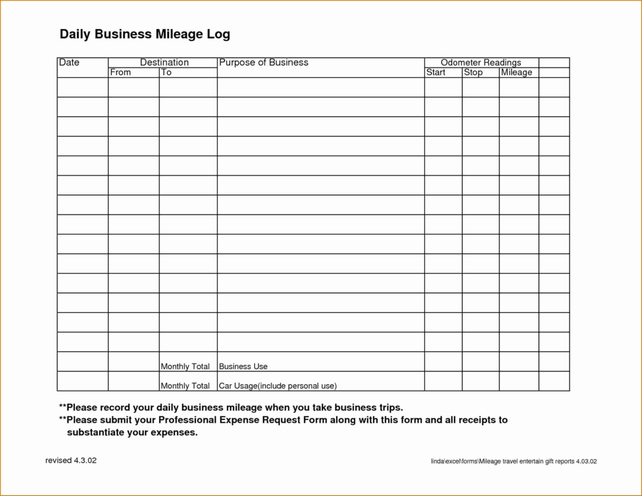 Mileage Spreadsheet Template Intended For Business Mileage Log Template Example Of Printable Mileage Log