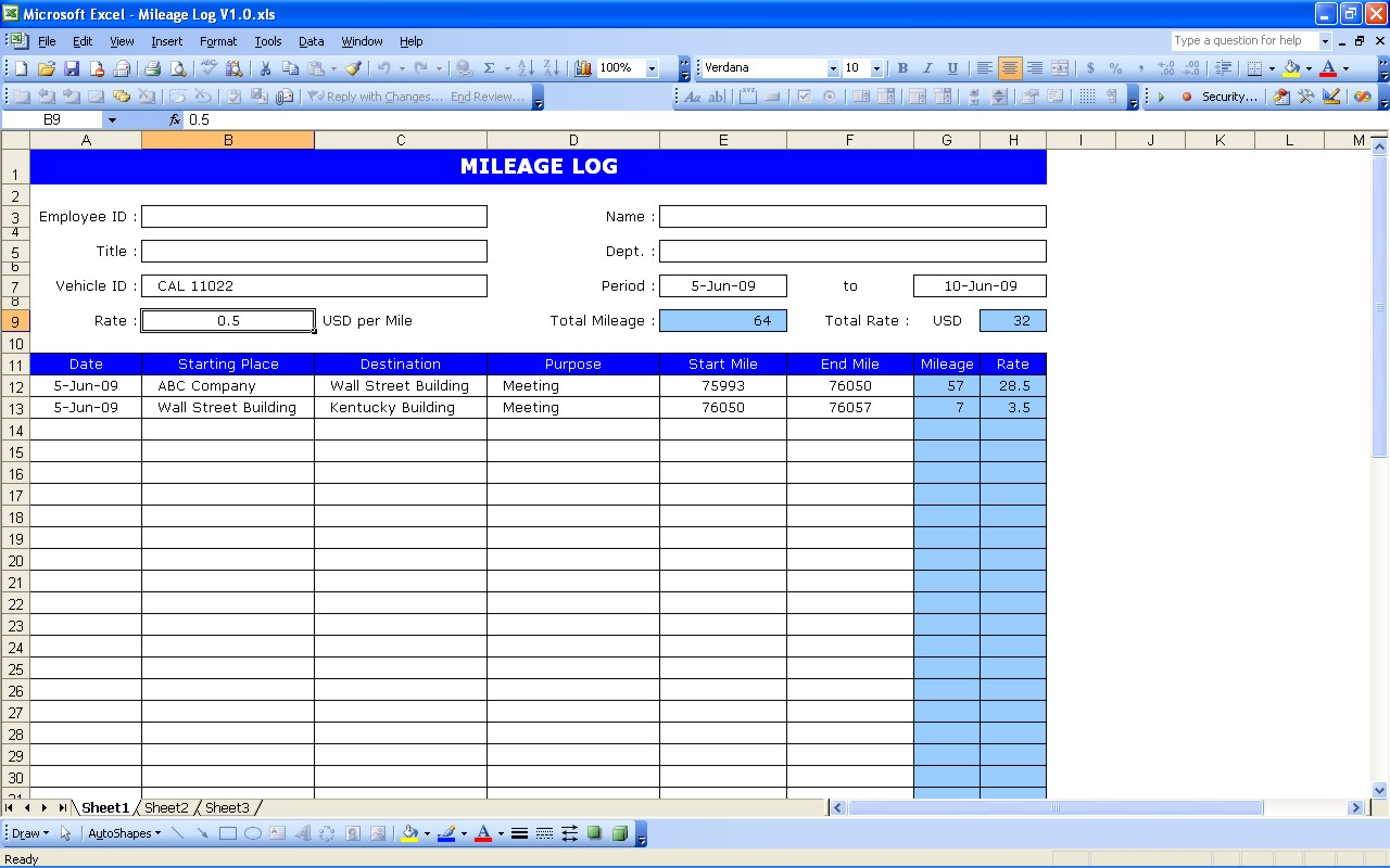 Mileage Spreadsheet Template Throughout Mileage Log  Excel Templates