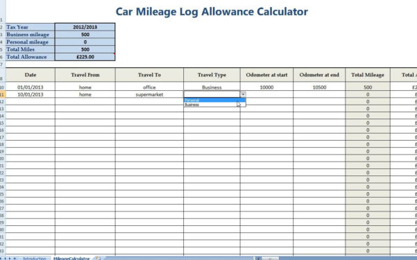 Mileage Spreadsheet Uk Regarding Free Mileage Log Template For Taxes  Homebiz4U2Profit