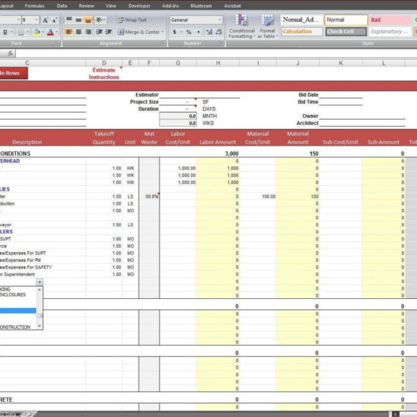 Millwork Estimating Spreadsheet Throughout Construction Estimating Templates Excel Spreadsheet For Sosfuer