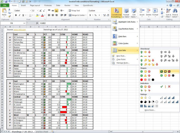Mlb Spreadsheet Within Use Data Bars And Icon Sets To Major League Baseball Standings Using