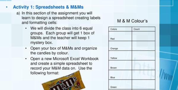 M&m Spreadsheet Activity Pertaining To Inf1060: Spreadsheet1.  Ppt Download M&m Spreadsheet Activity Printable Spreadsheet