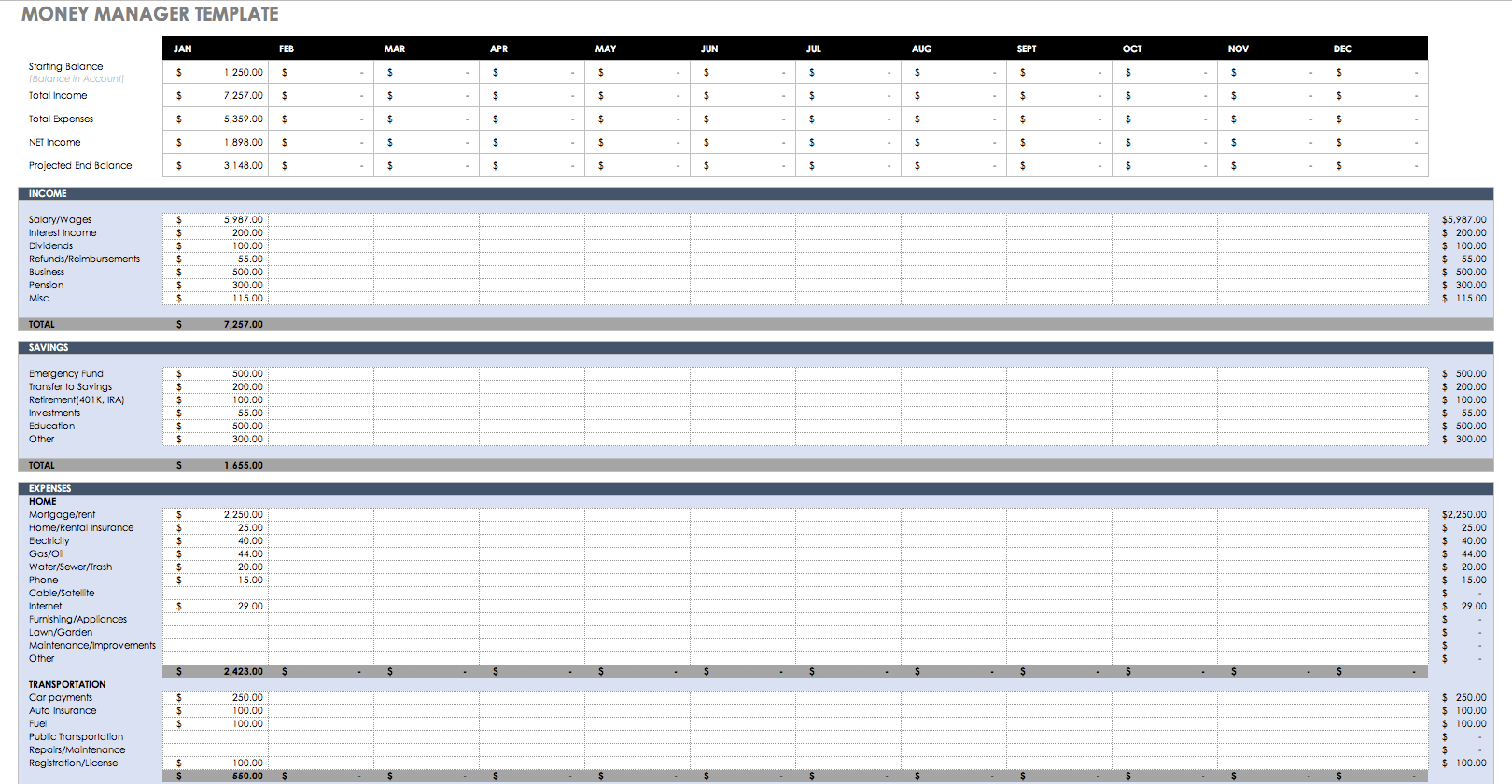 Money Management Excel Spreadsheet For Free Budget Templates In Excel For Any Use