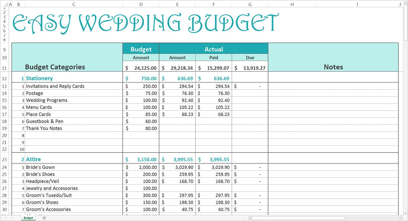 Money Spreadsheet Template Regarding Easy Wedding Budget  Excel Template  Savvy Spreadsheets
