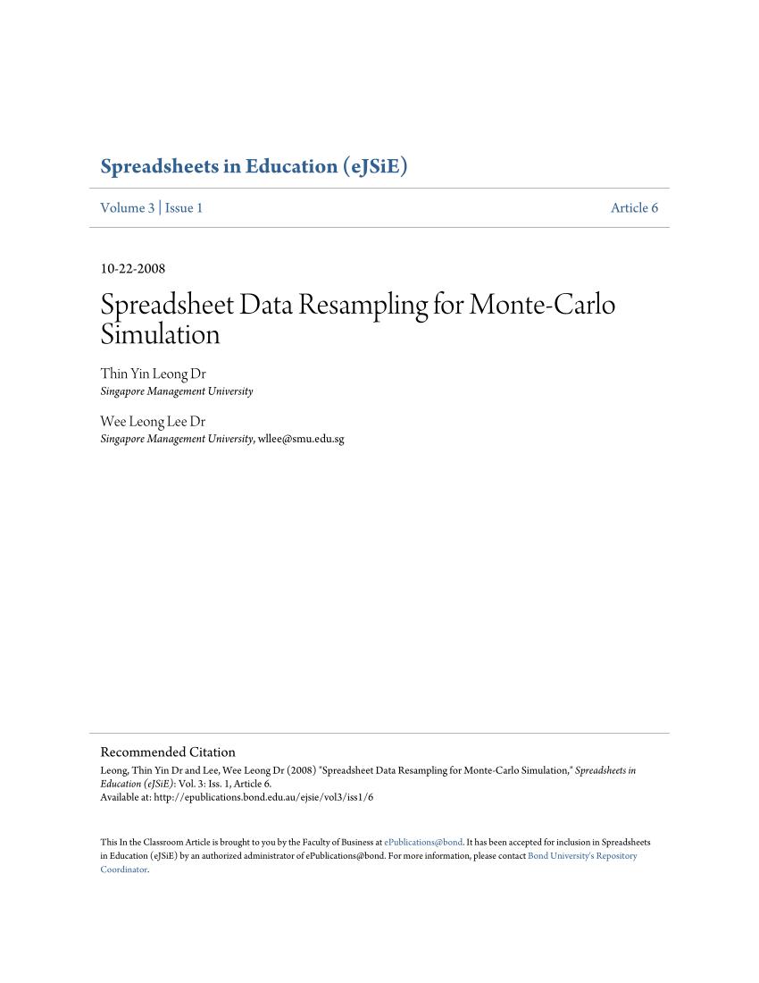 Monte Carlo Simulation Spreadsheet With Pdf Build Your Own Monte Carlo Spreadsheet