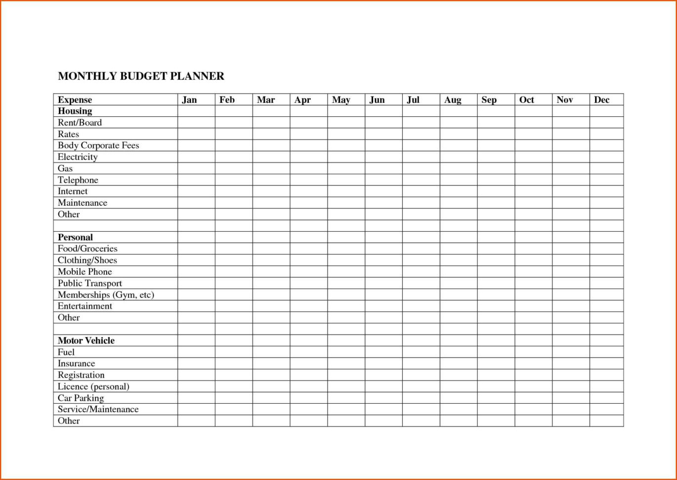 Monthly Bill Spreadsheet Template Free Intended For Monthly Bill Spreadsheet Template Freeel Templates Online Budget