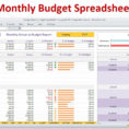 Monthly Budget Excel Spreadsheet Template In Monthly Bills Template Spreadsheet Budget Excel Downloadheet Simple