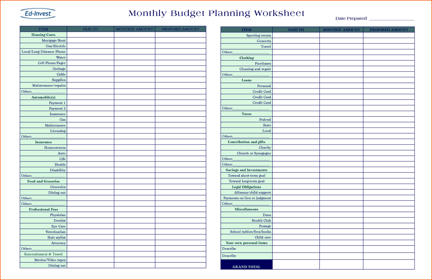 Monthly Budget Planner Spreadsheet With Budget Planning Spreadsheet Invoice Template Business Excel Sheet