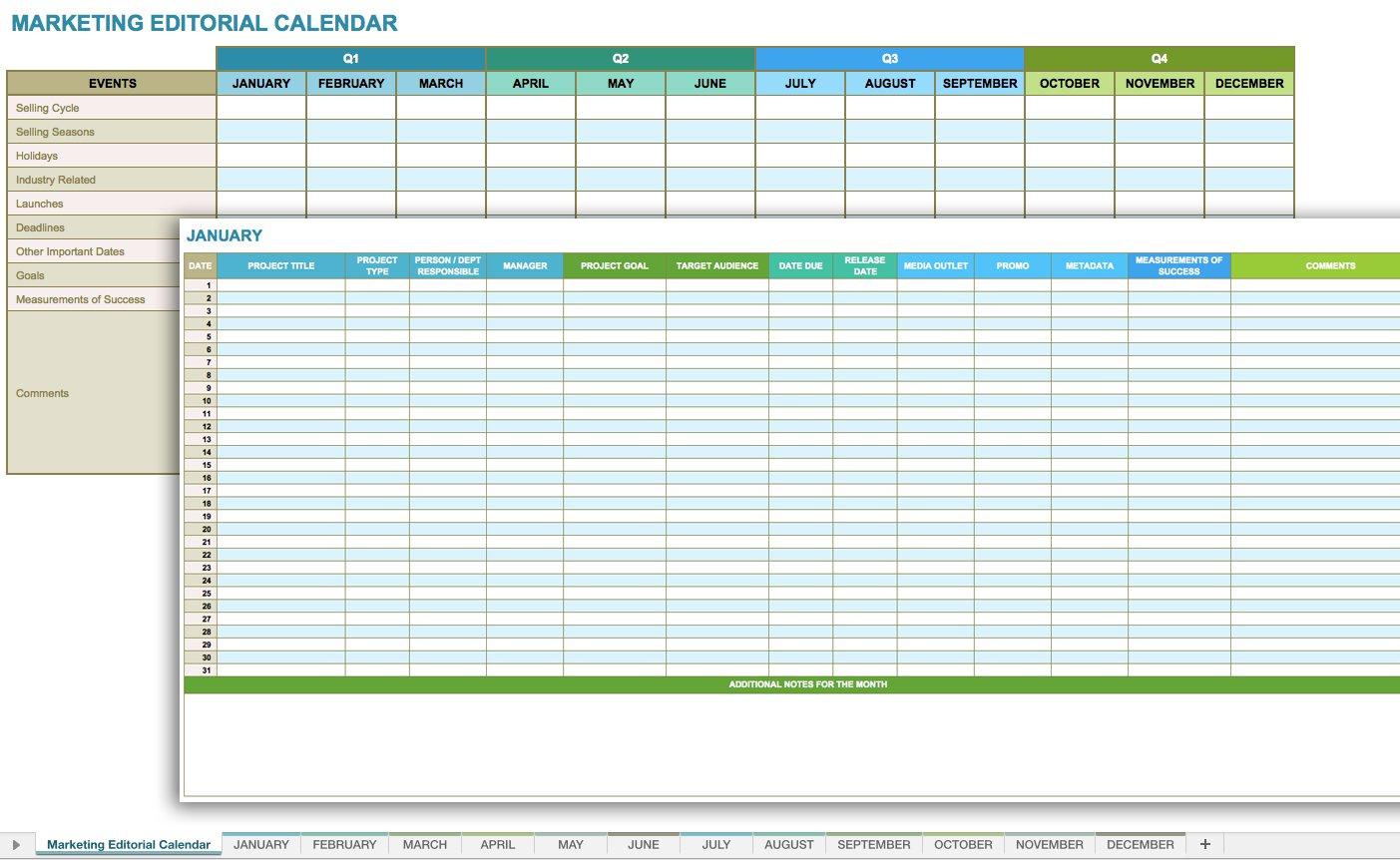 Monthly Calendar Spreadsheet In 12 Free Social Media Templates  Smartsheet