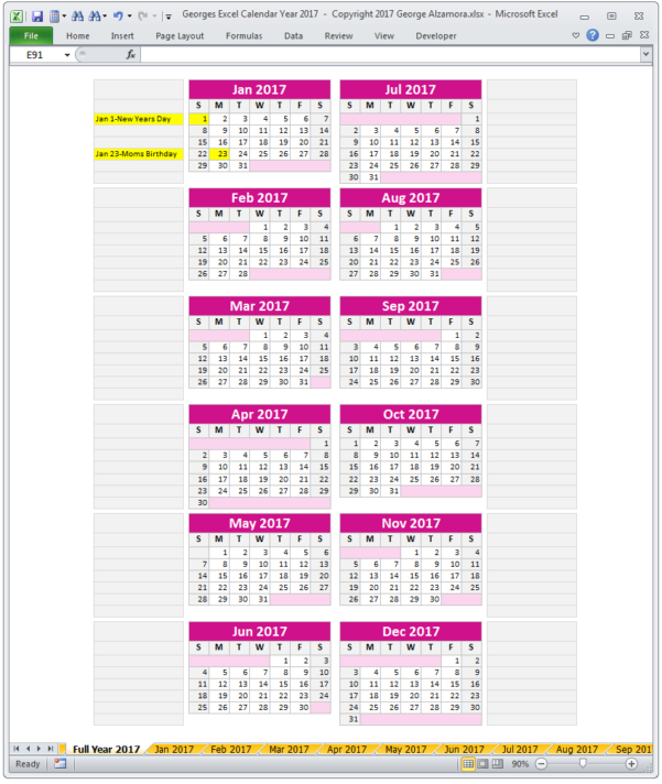 Monthly Calendar Spreadsheet Intended For Year 2017 Excel Calendar Template  Monthly Calendar Spreadsheet