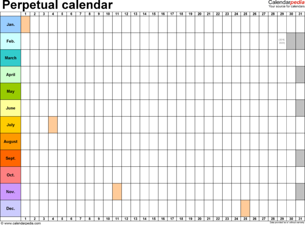 Monthly Calendar Spreadsheet Pertaining To Perpetual Calendars  7 Free Printable Word Templates