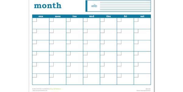 Monthly Calendar Spreadsheet Throughout Blank Monthly Calendar  Excel Template  Savvy Spreadsheets Monthly Calendar Spreadsheet Printable Spreadsheet