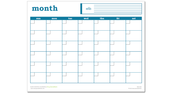 Monthly Calendar Spreadsheet Throughout Blank Monthly Calendar  Excel Template  Savvy Spreadsheets