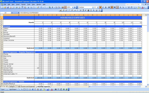 Monthly Cost Spreadsheet For Household Expenses  Excel Templates