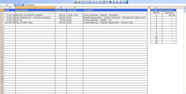 Monthly Cost Spreadsheet Regarding Expenses Tracking Spreadsheet And Home With Monthly Spending Tracker