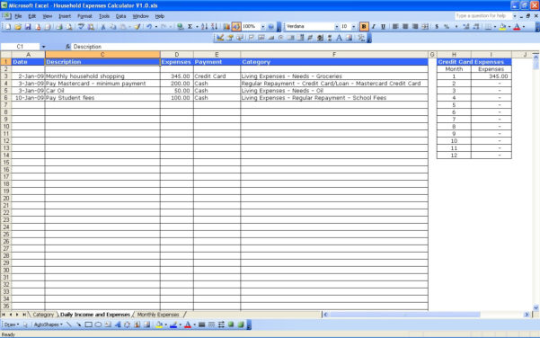 Monthly Expense Spreadsheet For Home For Family Monthly Expenses Spreadsheet Household Expenses Marvelous