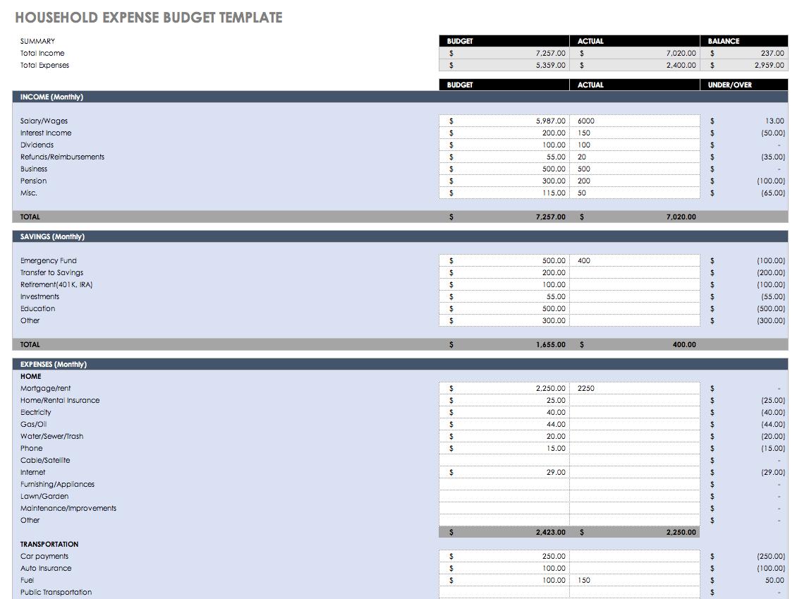 Monthly Finance Spreadsheet Regarding Free Monthly Budget Templates  Smartsheet