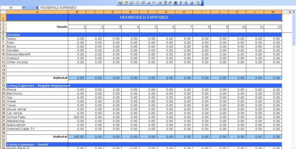 Monthly Household Expenses Spreadsheet Pertaining To Household Expenses  Excel Templates
