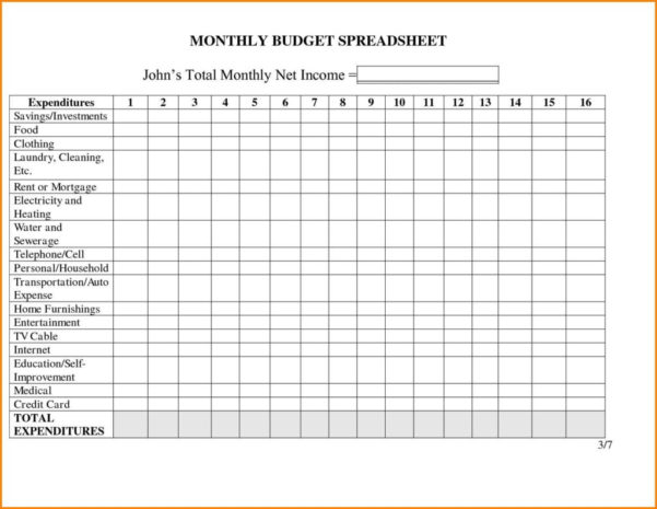 Monthly Income Expenditure Spreadsheet Throughout Business Monthly Budget Spreadsheet Templatees Uk Free Household