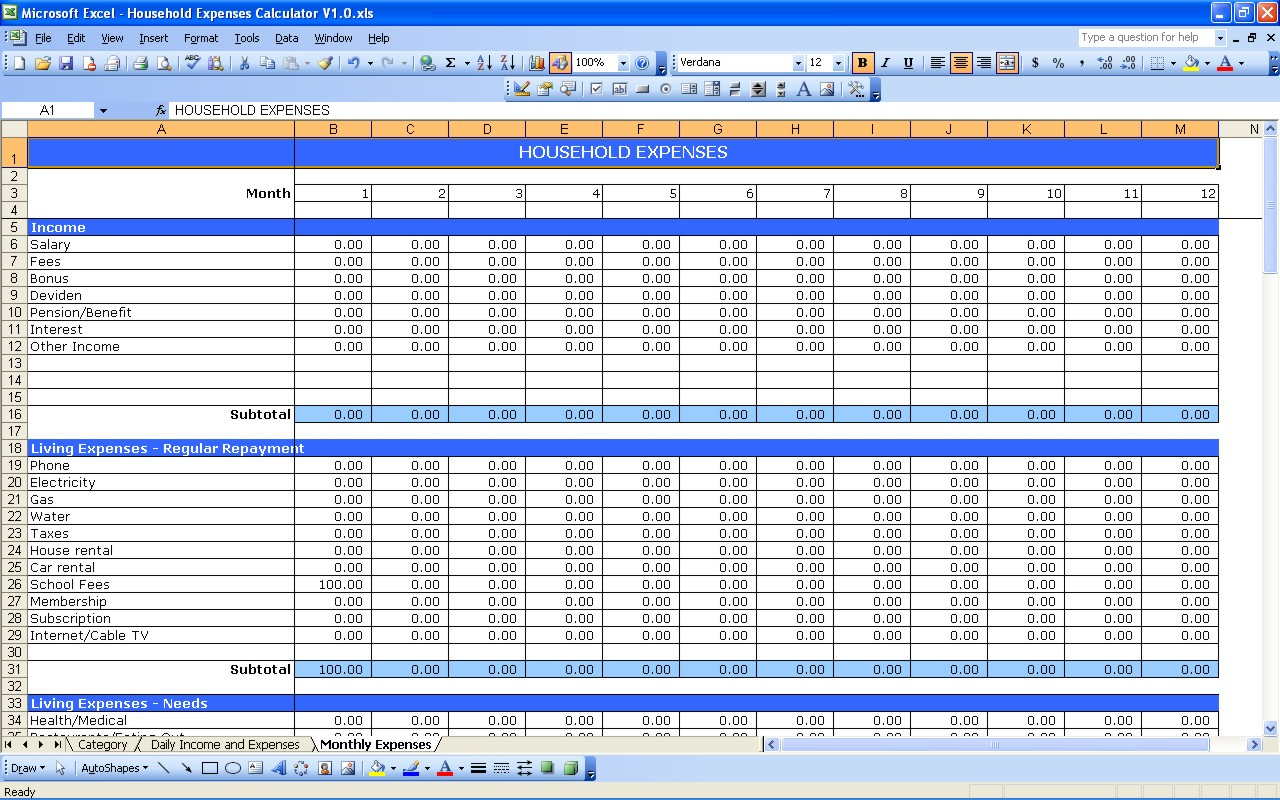 Monthly Living Expenses Spreadsheet Throughout Household Expenses  Excel Templates