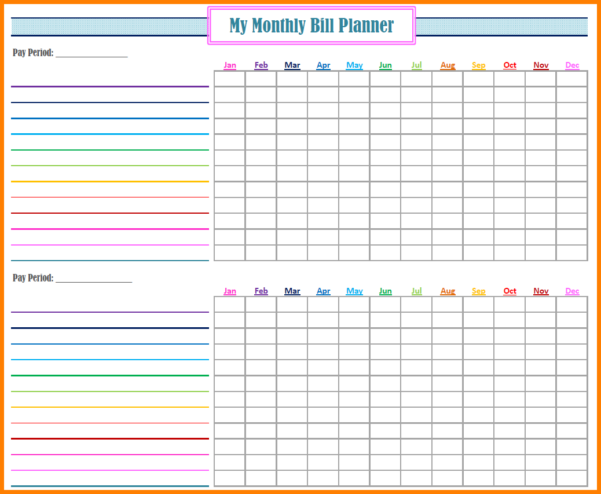 Monthly Payment Spreadsheet Throughout Bill Payment Spreadsheet Printable Free Monthly Pay Downloademplate