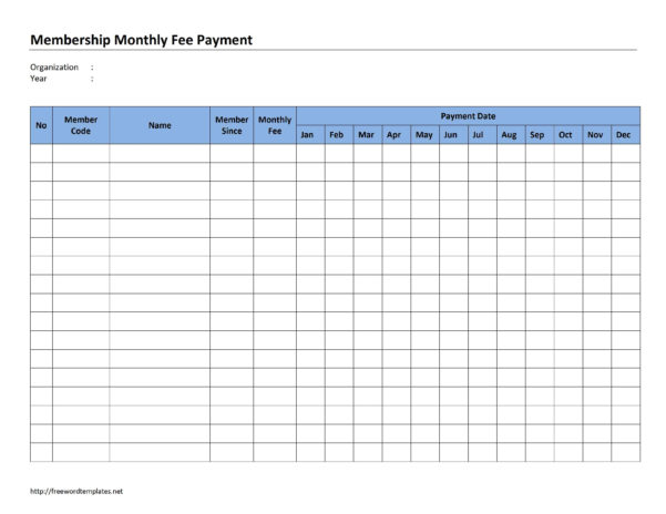 Monthly Payment Spreadsheet Within Membership Monthly Fee Payment