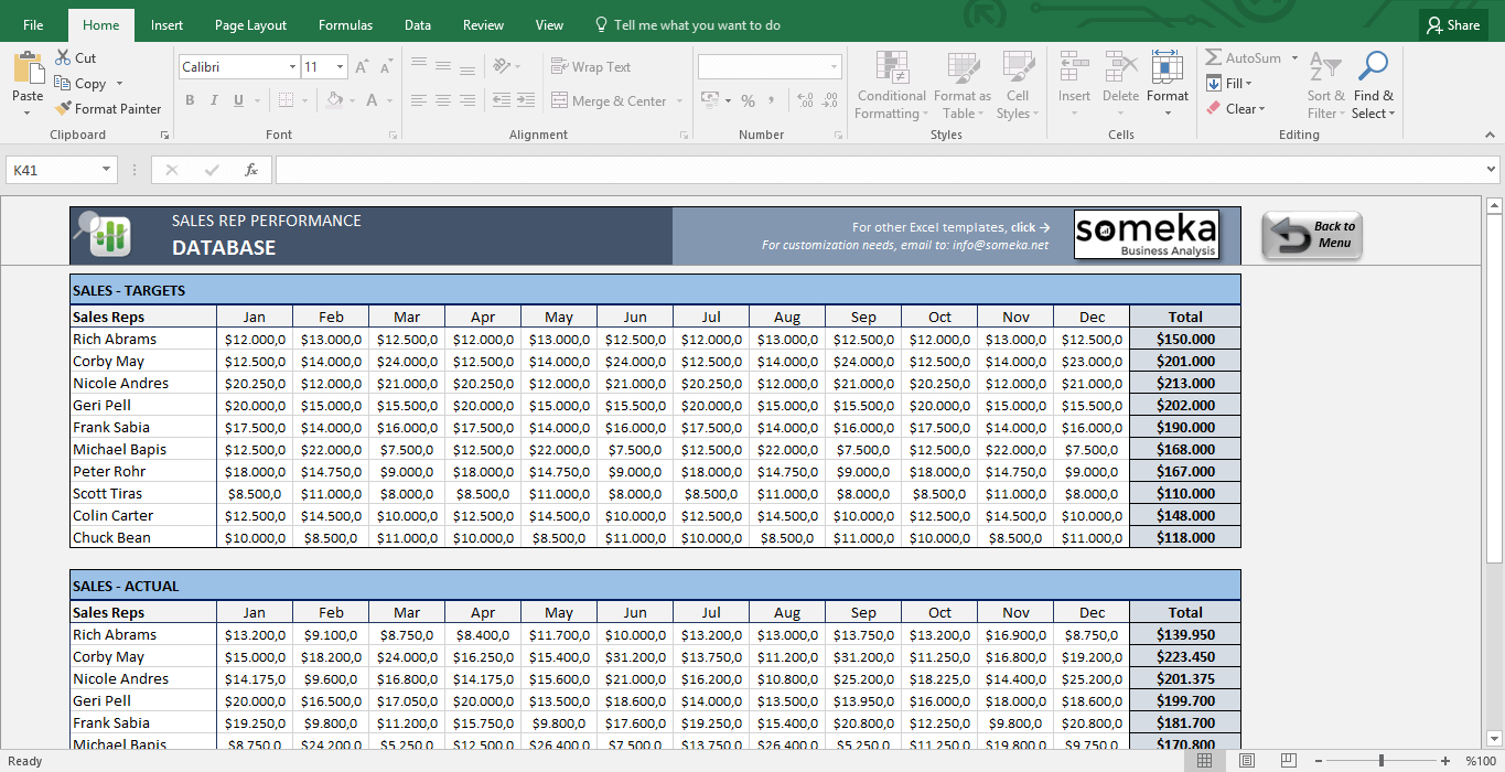 monthly sales tracking spreadsheet throughout salesman