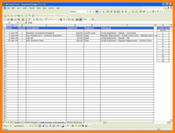 Monthly Spending Spreadsheet With Regard To 5  Monthly Household Expenses Spreadsheet  Credit Spreadsheet