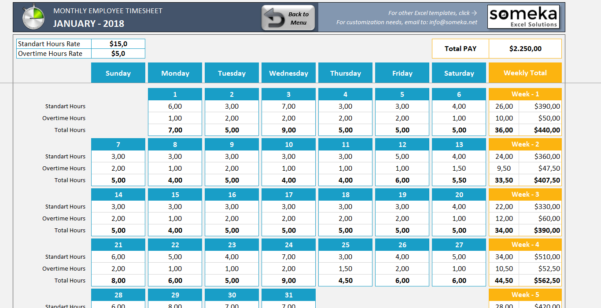 Monthly Timesheet Excel Spreadsheet For Monthly Employee Timesheet  Free And Printable Excel Template