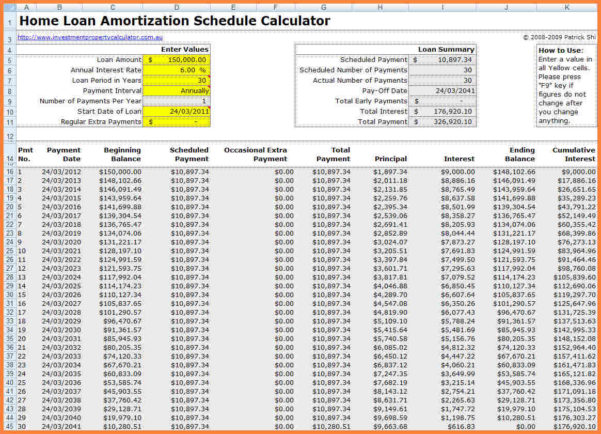 Mortgage Amortization Calculator Spreadsheet Throughout Loan Amortization Excel Template Unique Payment Schedule Mortgage