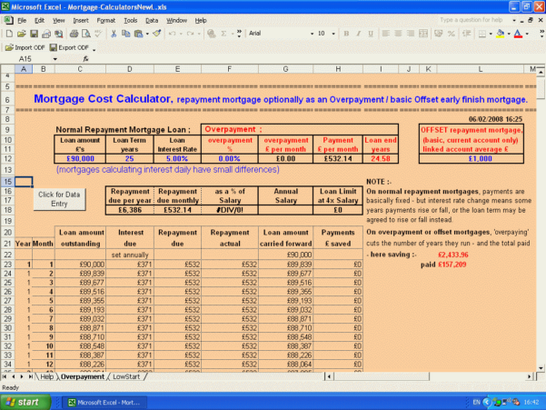 Mortgage Calculator Spreadsheet Uk With Wilmot's Microsoft Office Excel Mortgage Calculators  Low Start