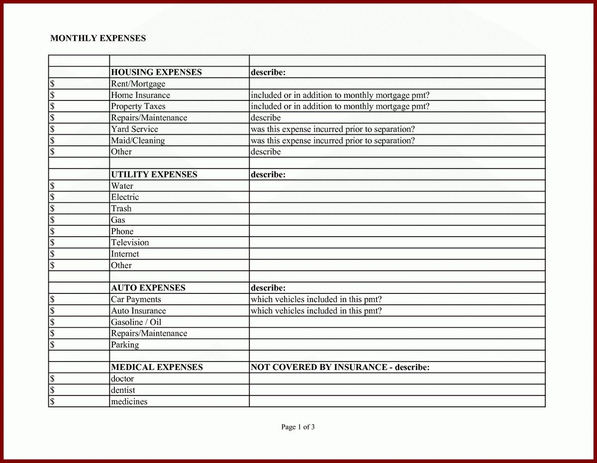 Mortgage Expenses Spreadsheet Throughout 012 Monthly Expense Reportlate Excel Business Ndashlates Cleaning