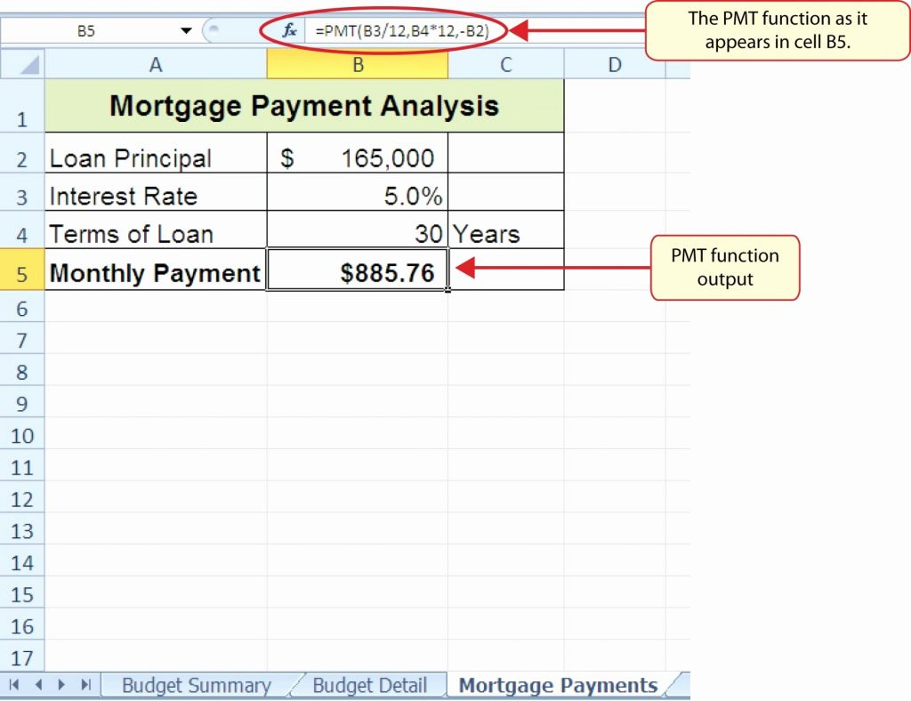 Mortgage Payment Excel Spreadsheet Throughout Mortgage Comparison Spreadsheet Excel Loan New Template