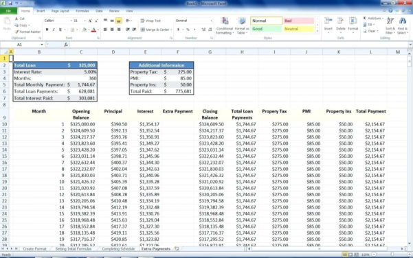 Mortgage Spreadsheet Intended For Form Mortgage Spreadsheet Formula Examples Templatel Loan Calculator
