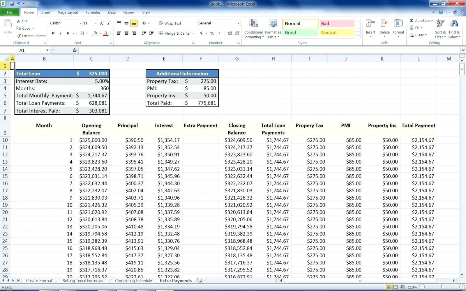 mortgage spreadsheet intended for form mortgage