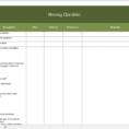 Moving Checklist Excel Spreadsheet with regard to Free Moving Checklist  Excel Templates For Every Purpose