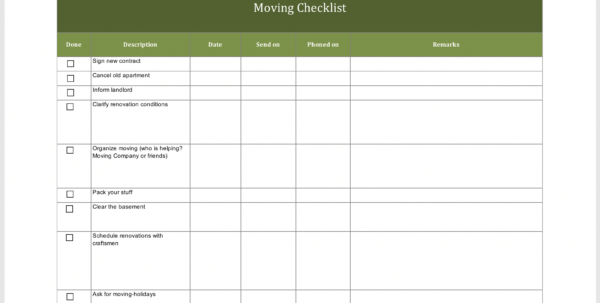 Moving Checklist Excel Spreadsheet With Regard To Free Moving Checklist  Excel Templates For Every Purpose