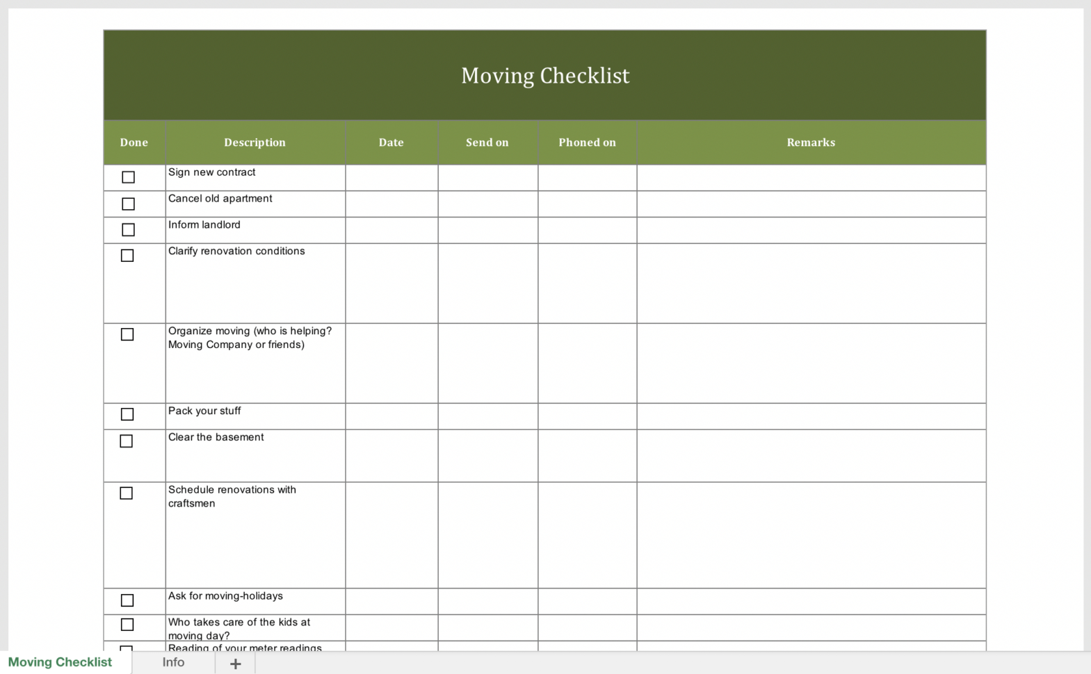 Moving Checklist Spreadsheet Inside Free Moving Checklist  Excel Templates For Every Purpose