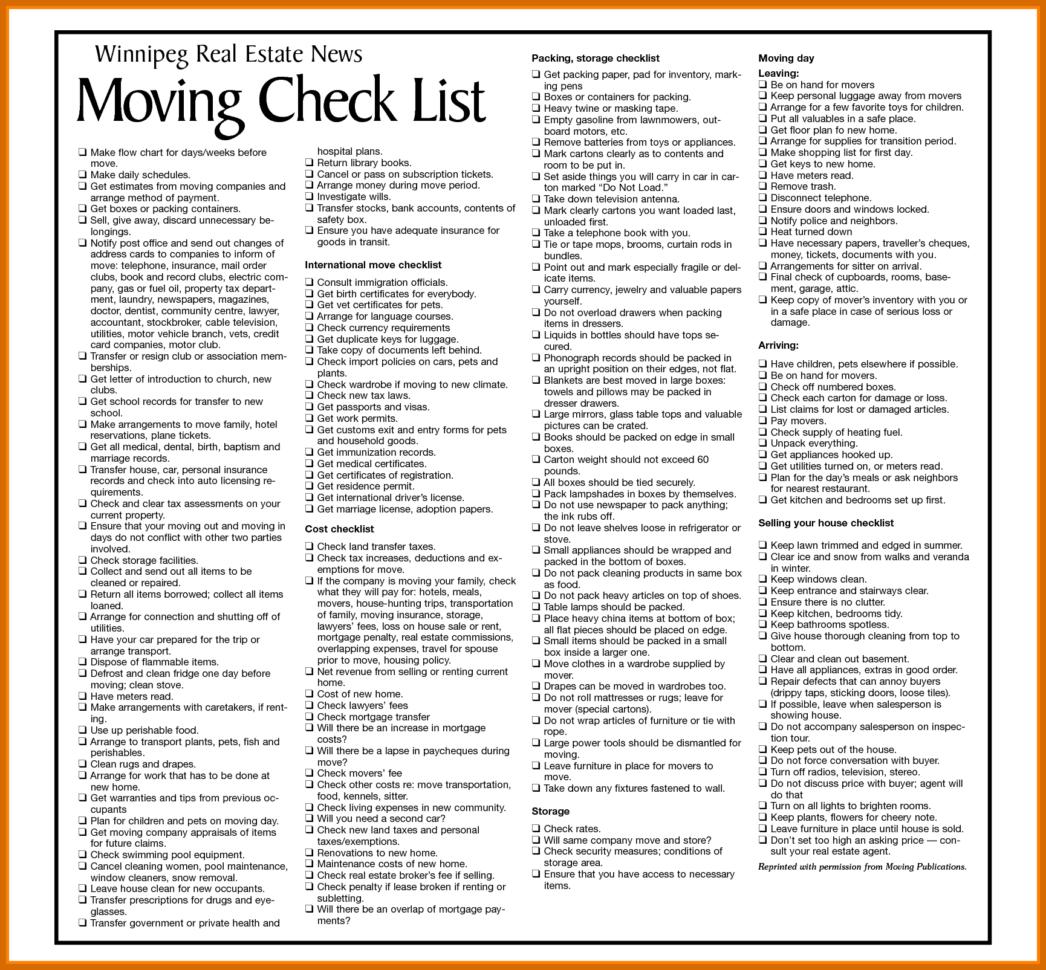 Moving Checklist Spreadsheet Pertaining To 56 Moving Checklist Template  Modernbioresumes