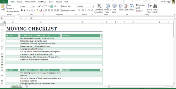 Moving Checklist Spreadsheet Throughout Microsoft's Best Templates For Home Or Personal Life