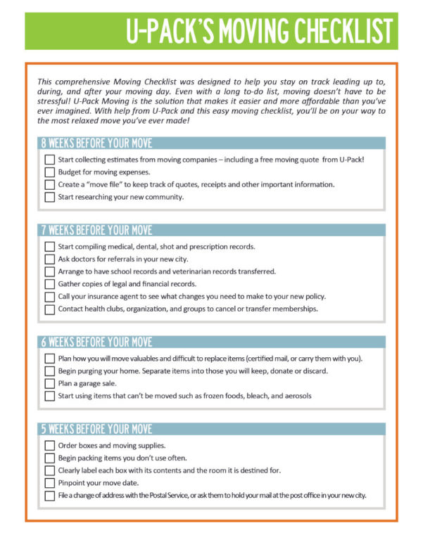 Moving Checklist Spreadsheet With 45 Great Moving Checklists [Checklist For Moving In / Out