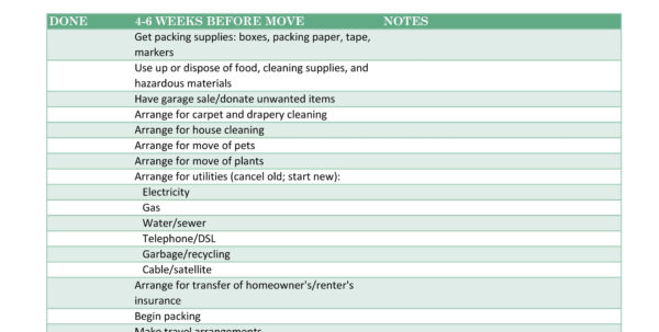 Moving Checklist Spreadsheet With Regard To 45 Great Moving Checklists [Checklist For Moving In / Out