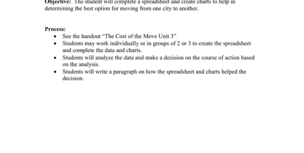 Moving Cost Spreadsheet For The Cost Of The Moveexcel Lesson Name: Teks