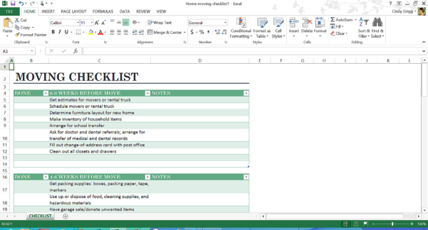 Moving House Checklist Spreadsheet Pertaining To Microsoft's Best Templates For Home Or Personal Life