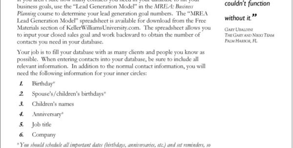 Mrea Business Planning Spreadsheet Intended For Chapter 3: Generating Leads  Pdf